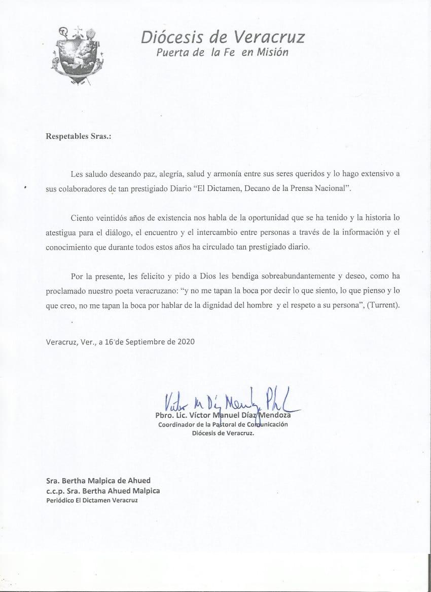 Diócesis de Veracruz felicita a EL DICTAMEN por su 122 Aniversario