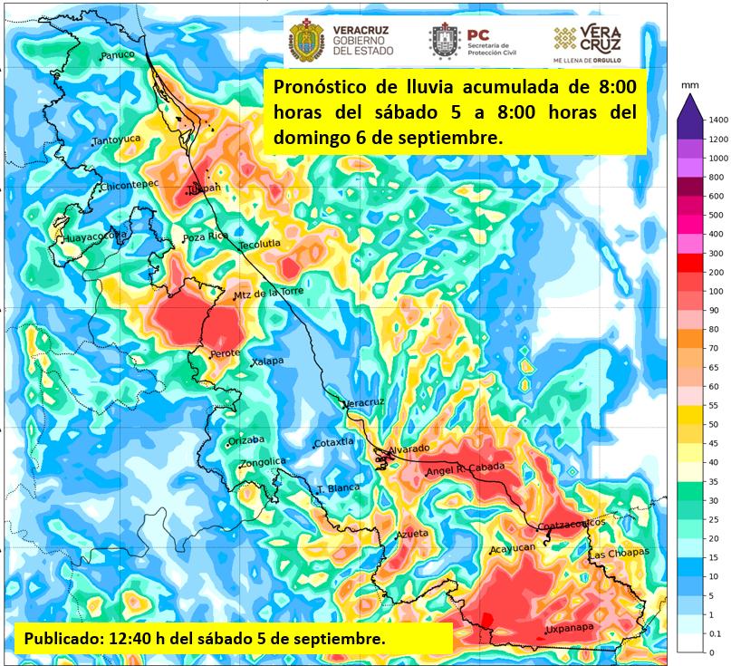 Lluvias en Veracruz sábado y domingo