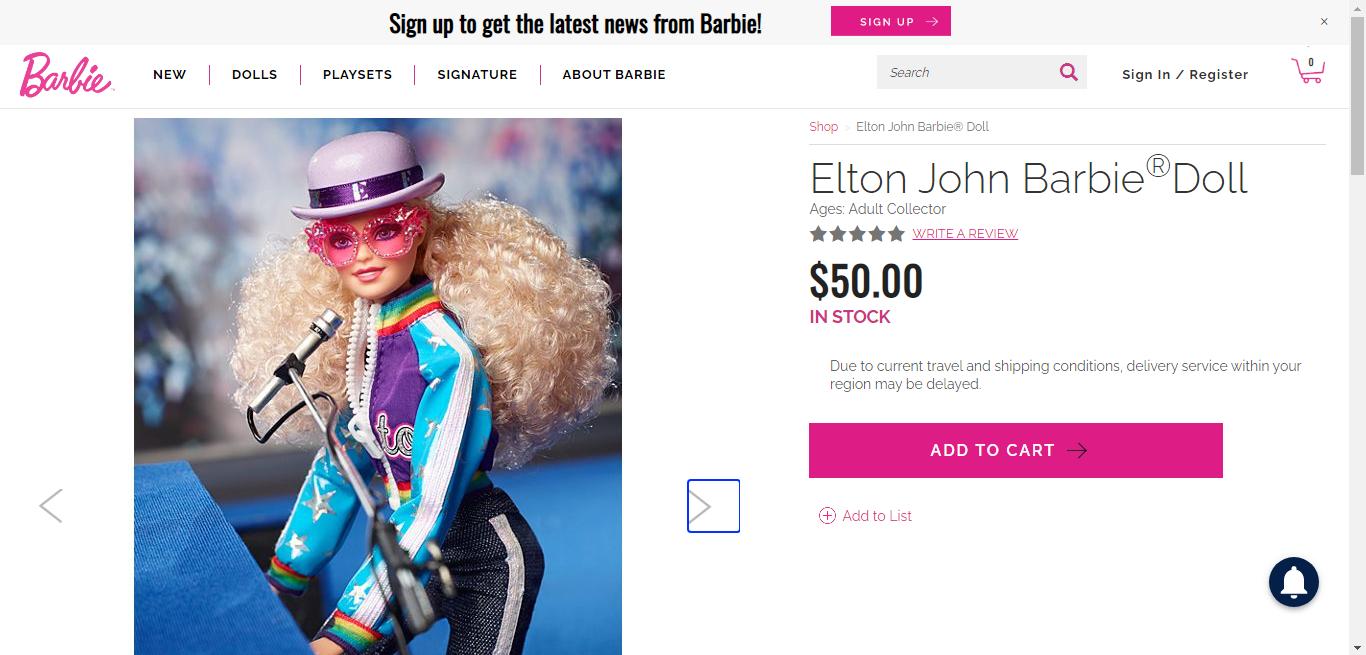 Elton John se une con Mattel y lanza su propia muñeca Barbie