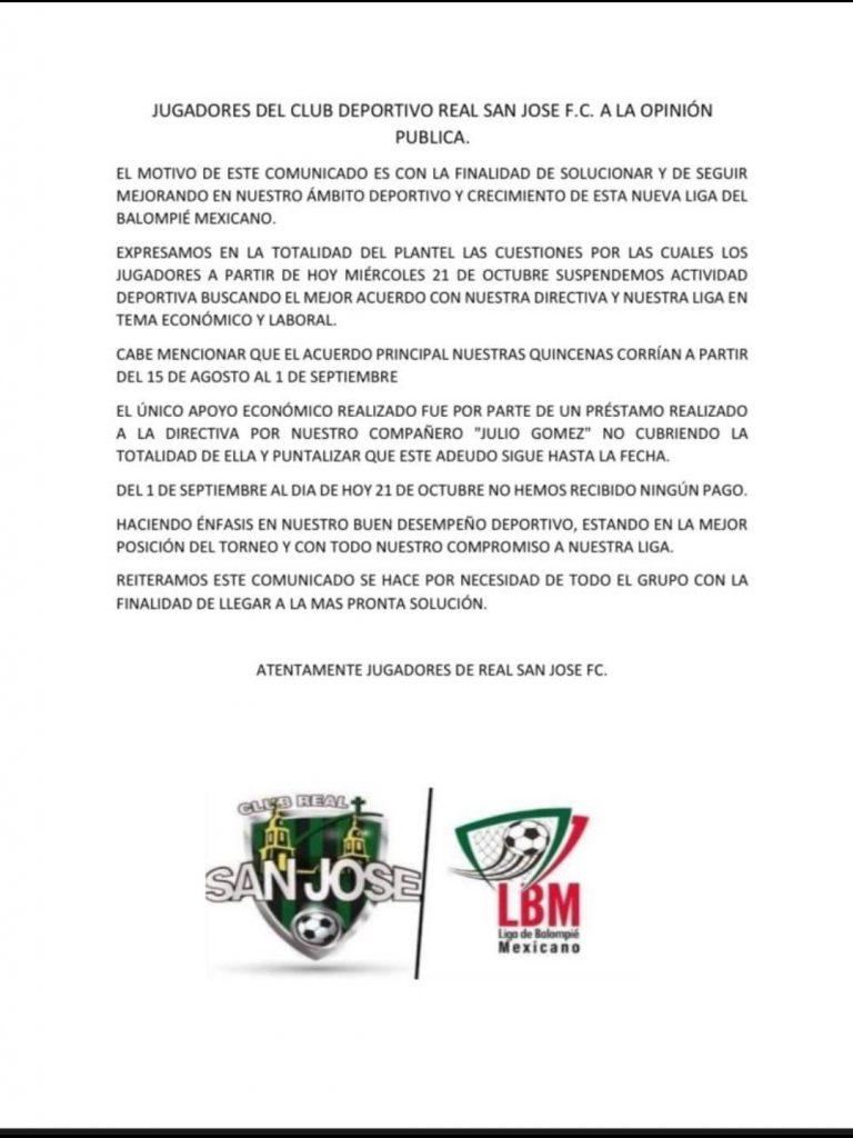 Jugadores de San José FC paran las actividades por falta de pagos y aseguran que no han cobrado en dos meses
