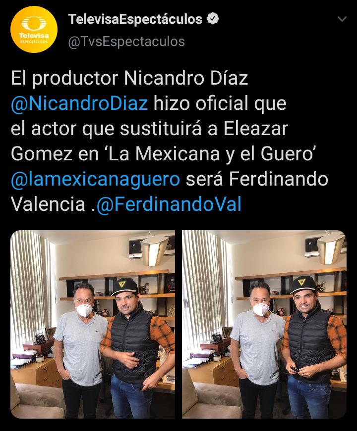 """Eleazar """"N"""" ya tiene reemplazo para la novela """"La mexicana y el güero"""""""