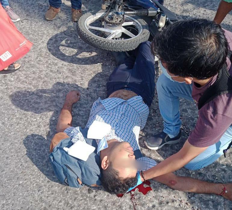 Se registra accidente de un motociclista en la avenida Veracruz