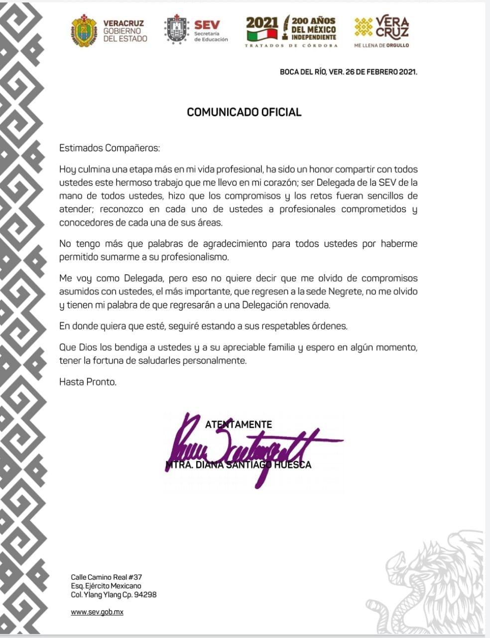 Renuncia delegada de la SEV en Veracruz