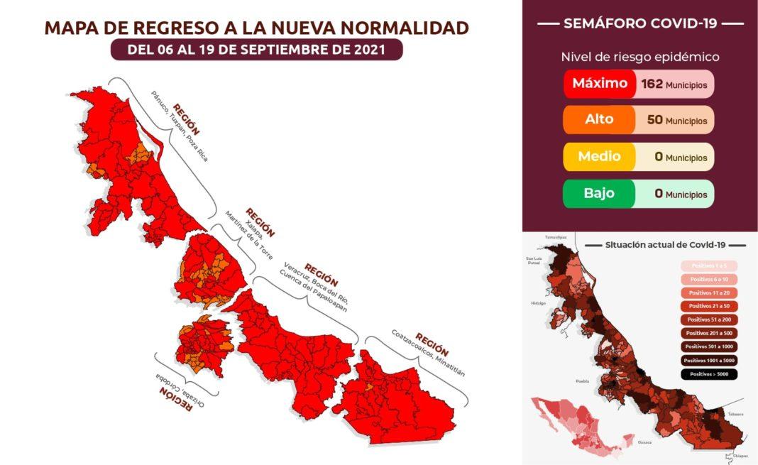 Veracruz y Boca del Río se mantienen en rojo en el semáforo por Covid-19